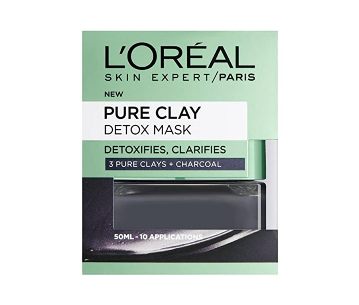 L'Oreal  Pure Clay Charcoal Black Mask (English)