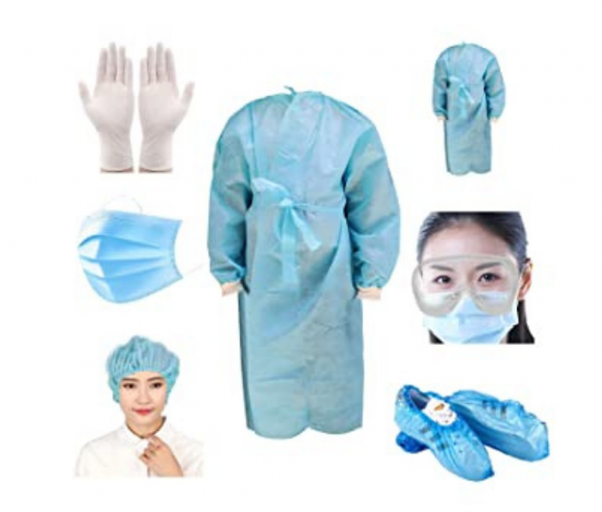 Coverall PPE Kit (Gown with head cover and shoe cover)