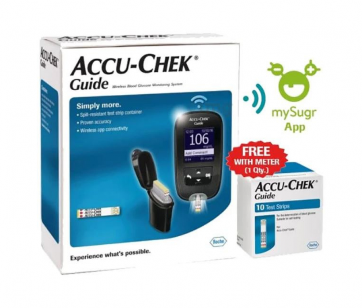 Accu-Chek Guide Wireless Blood Glucose Monitoring System with 10 Test Strips Free