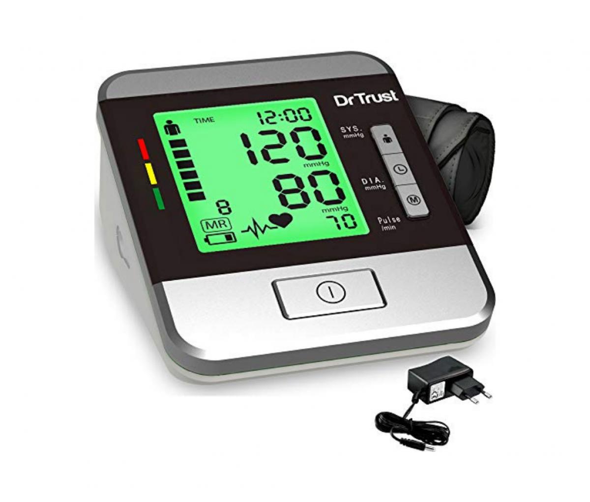 Dr Trust USA Goldline Talking Automatic Digital Blood Pressure Monitor Metallic Silver